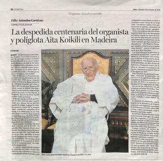 Aita Koikili en el periódico Deia