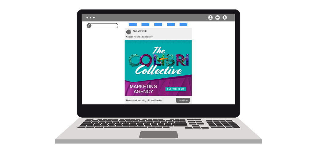 Computer illustrating a creative/ad created by The Colibri Collective.