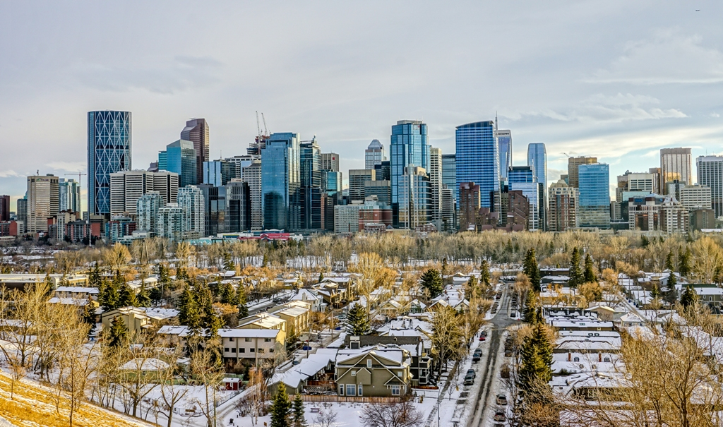 Calgary Downtown at Winter Evening