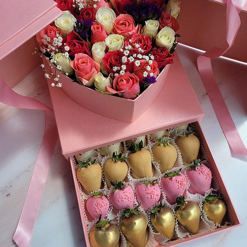 Edible arrangement with chocolate strawberries