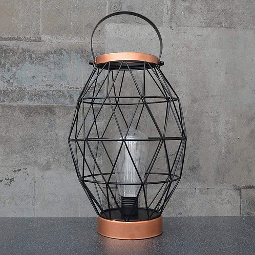 Oval Metal LED Lantern Rose Gold 29cm