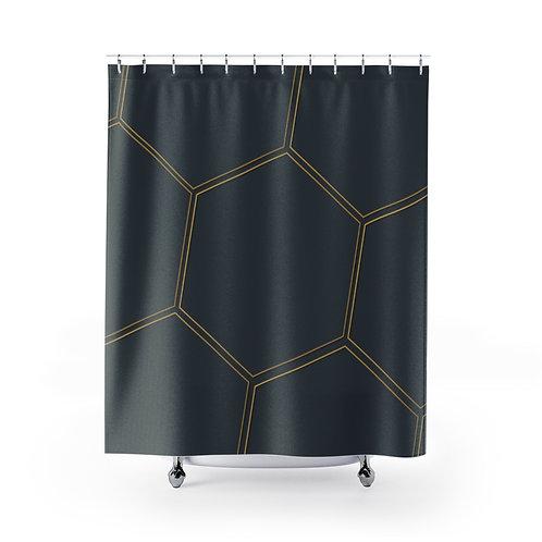 Juna Polygon Navy Shower Curtains