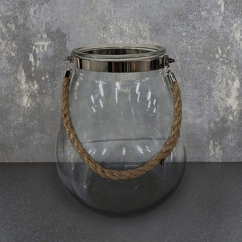 Large Glass Candle Holder with Rope Hanger Clear 28cm