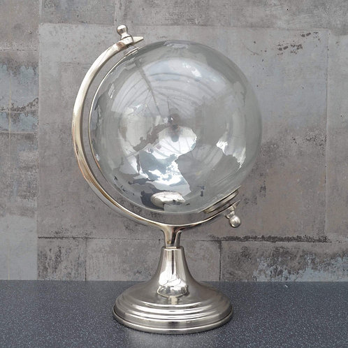 Large Glass Globe on Metal Stand Silver 32.5cm
