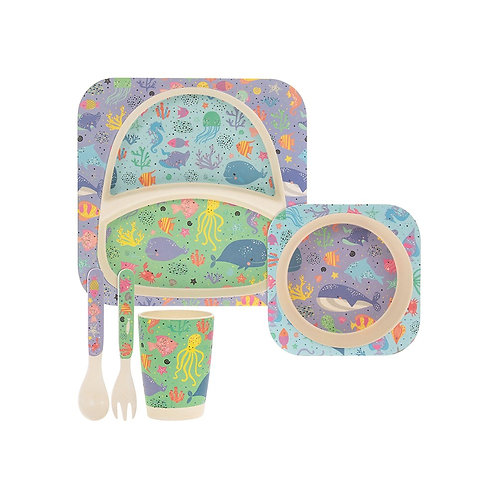 Sea Life Eco-Friendly Bamboo Feeding Set