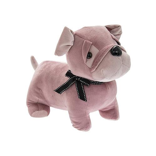 Velveteen Pink Pug Doorstop