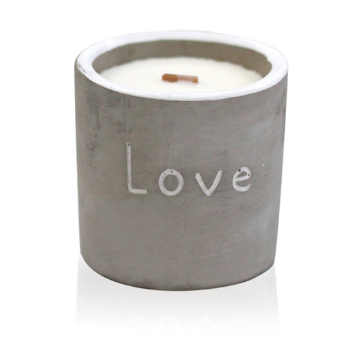 Med Concrete Wooden Wick Candle