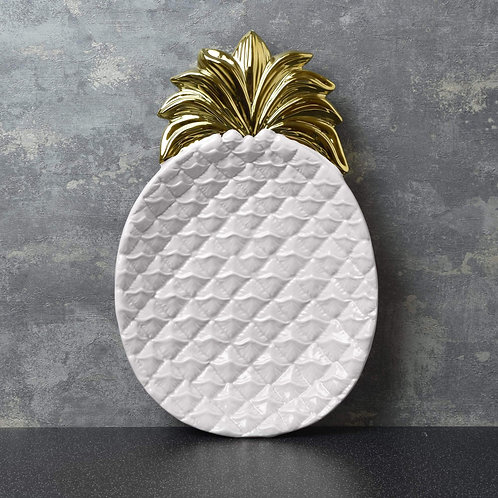 Large Pineapple Dish White and Gold 33cm
