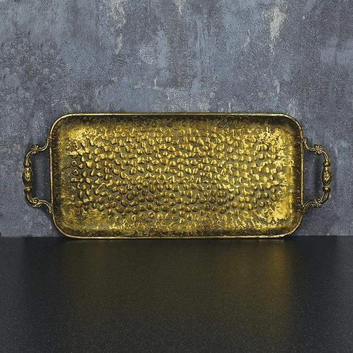 Metal Tray Antique Gold 48cm