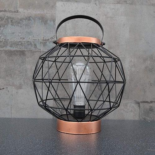 Round Metal LED Lantern Rose Gold 23.5cm