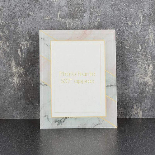 """Glass Photo Frame Marble Effect Grey and Pink 5x7"""""""