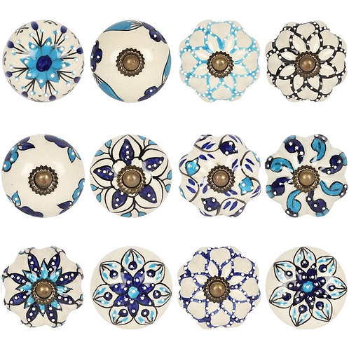 Blue and White Doorknobs