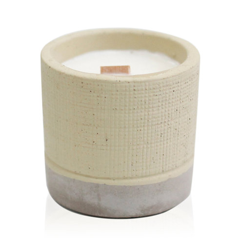 Sml Concrete Pot Wooden Wick Candle