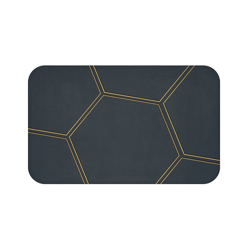 Bath Mat -Juna Navy & Gold Polygon