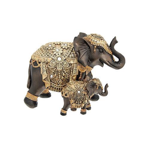 Black & Gold Elephant Mum & Baby