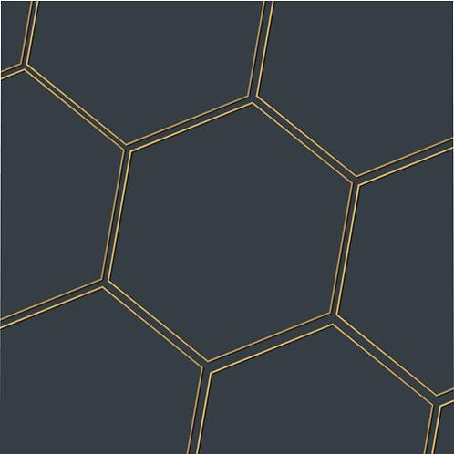 Juna Navy & Gold Polygon Microfiber Duvet Cover