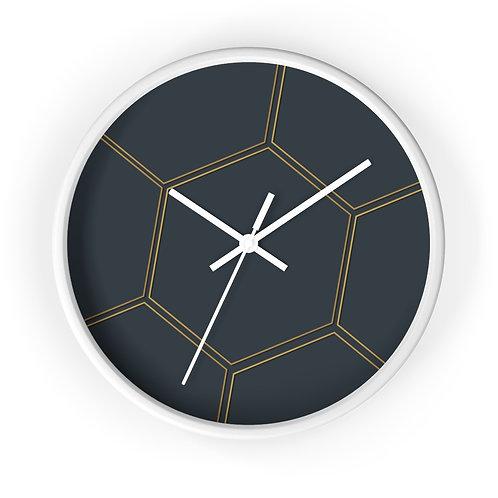 Juna Navy & Gold Polygon Wall clock