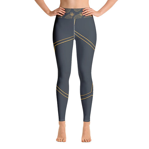 Juna Navy & Gold Pineapple Polygon Yoga Leggings