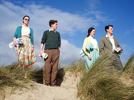 The Cast of Brooklyn Filming on Curracloe Beach