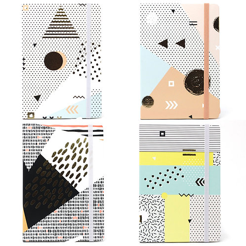 Cool A5 Notebook - Lined Paper - Golden Abstract