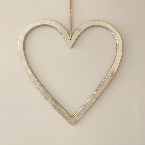Raw Nickel Finish Heart, 40cm