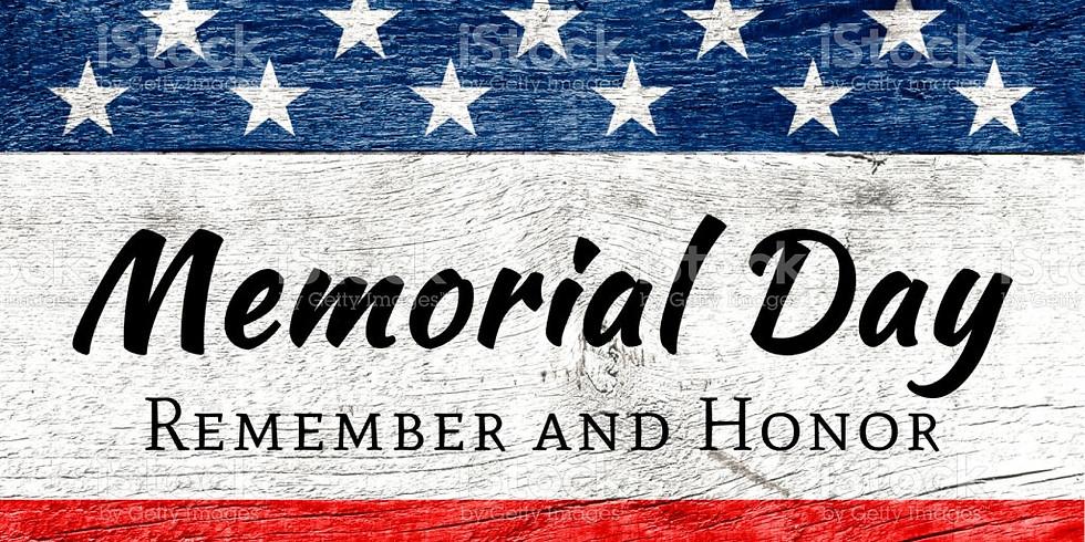Memorial Day Holiday STUDIO CLOSED