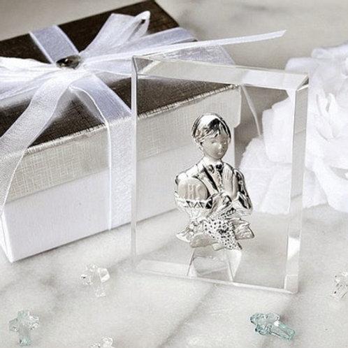 Bimbo cristallo placca argento - Stock 2 pezzi: