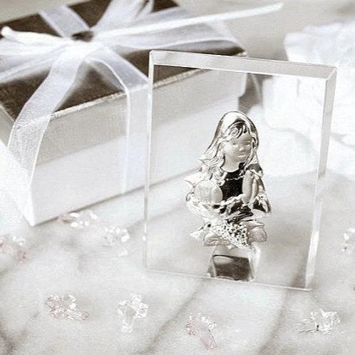 Bambina cristallo placca argento - Stock 3 pezzi: