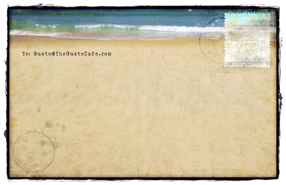 Contact Gusto, water, sand, postcard