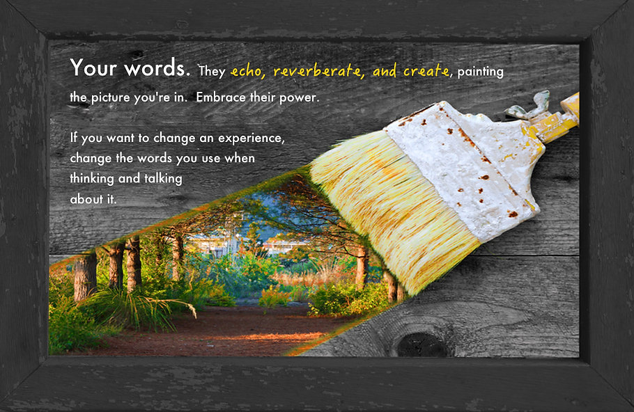 gusto cafe, photo art, inspiring picture and message, self-help, words, power, paint, paintbrush, gray wood, create change, beautiful, soothing