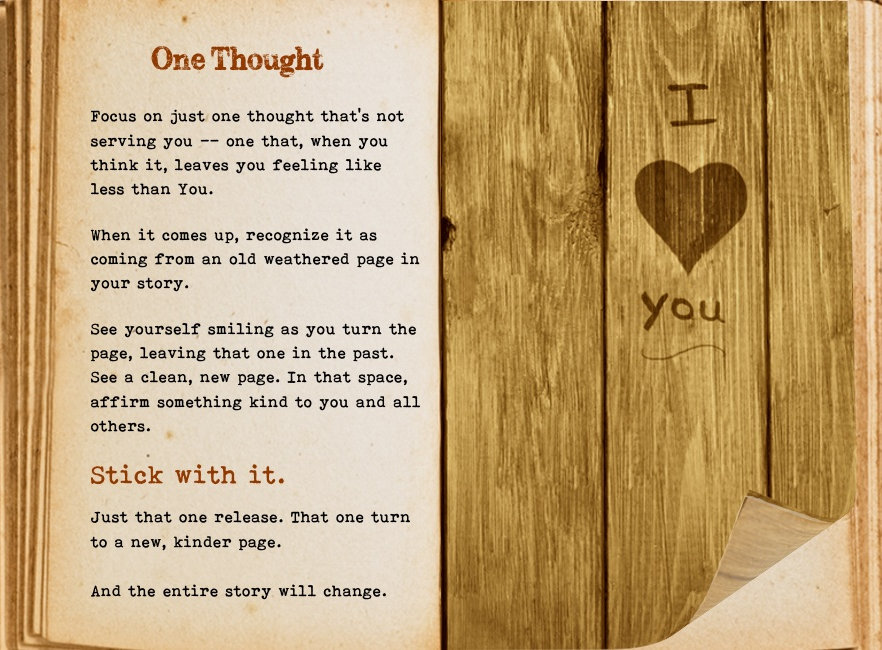 One thought. Cool Pages. Love the story you're living, no matter what page you're on.