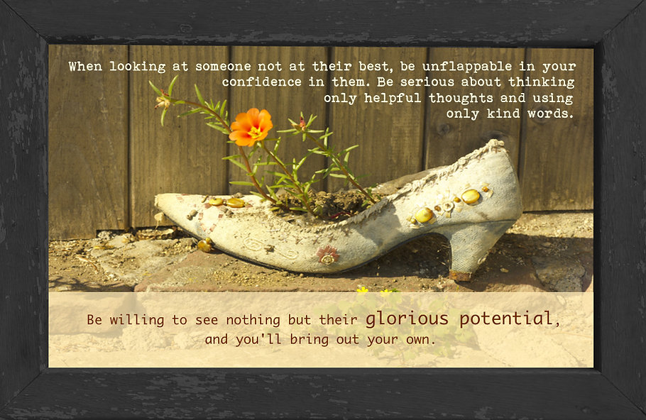 gusto cafe, photo art, inspiring picture and message, old shoe, flower, potential, confidence, hope