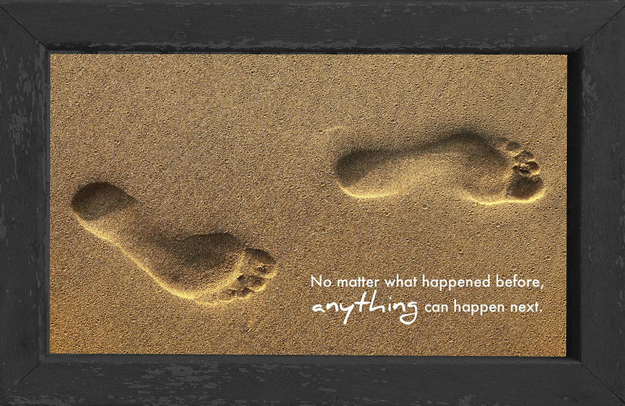 gusto cafe, photo art, inspiring picture and message, self-help, self-love, love, past, present, sand, footprints, start again, start all over, hope