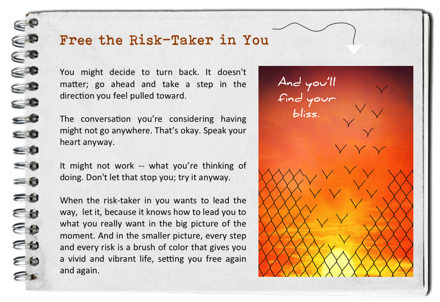 Free the risk-taker in you. How to find your bliss. Fall in love with today.