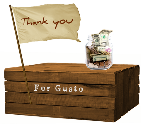 gusto cafe, elizabeth day, tip jar, thank you