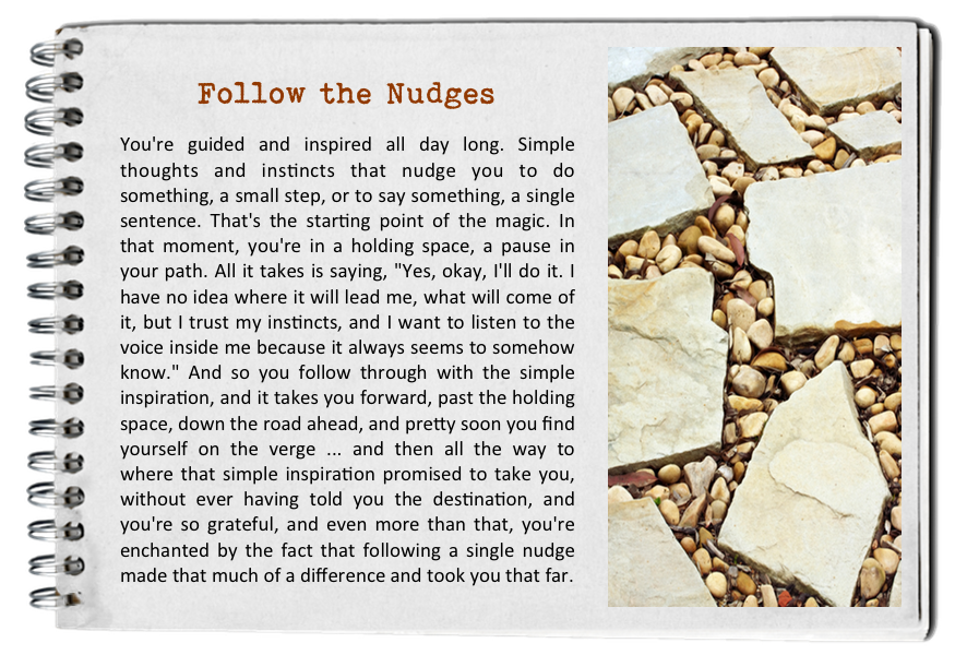 Follow the nudges. How to find your bliss. Fall in love with today.