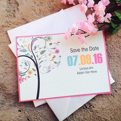Pink Tree Save the Dates
