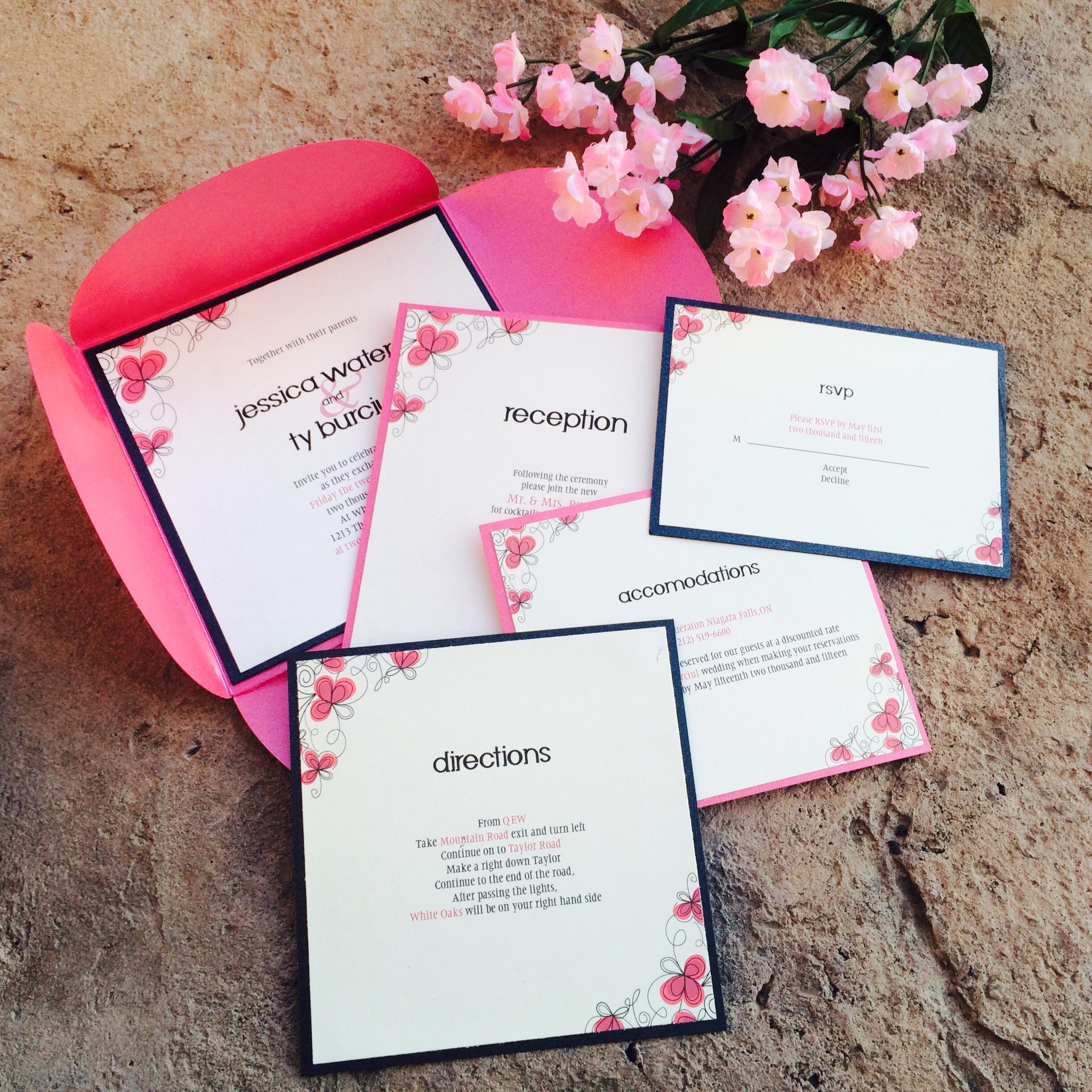 Pink Petal Fold Invitation