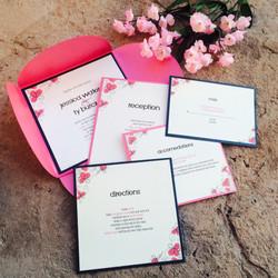 Pink Floral Petal Fold Invitations