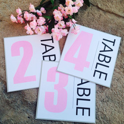 Pink and Grey Table Numbers