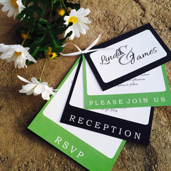 Green and Black Flip invitations