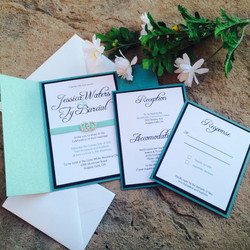 Emerald Green Invitation with Gem