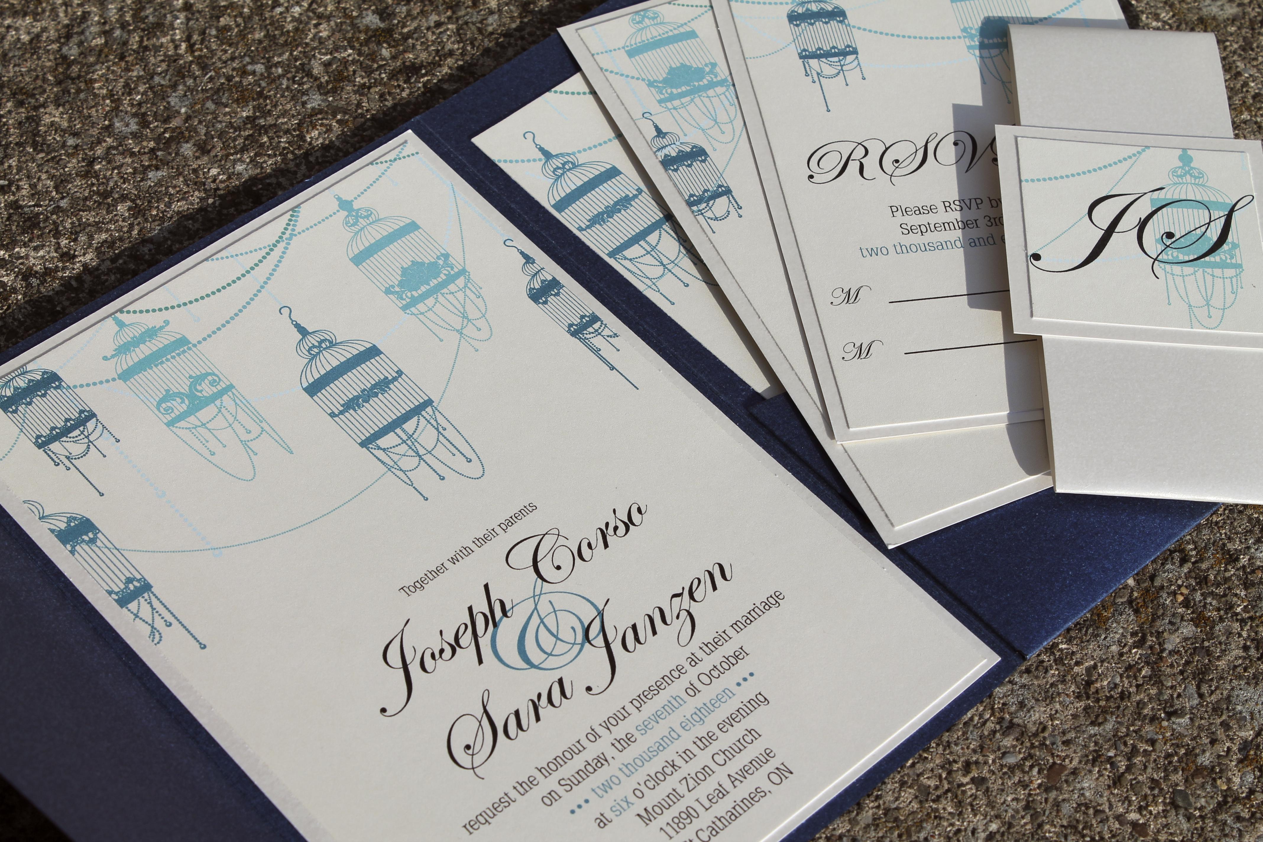 Sapphire Blue Pocket Invitations