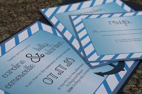Nautical Wedding Invitations, Pocket Fold