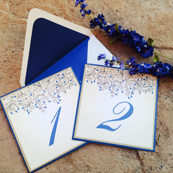 Blue and Gold Leaves Table Numbers