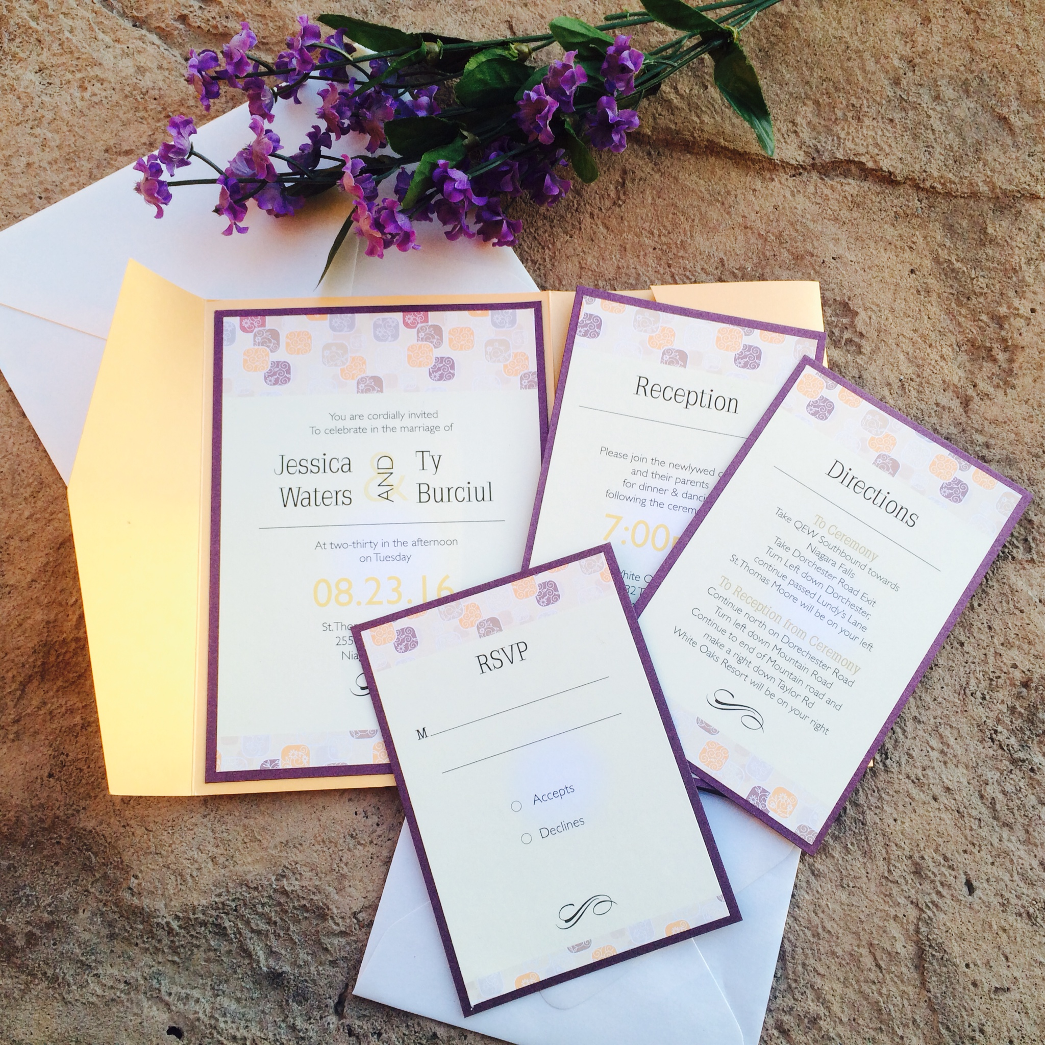 Purple and Orange Invites