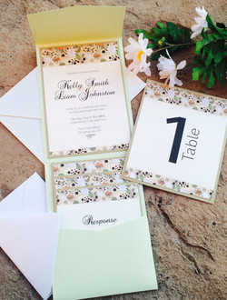 Mint Green Floral Invites