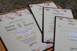 Orange & Purple Pattern Invitations