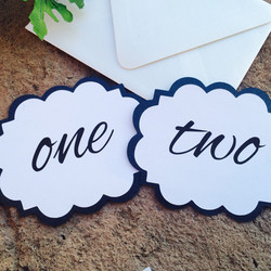 Die Cut Black and White Table Number