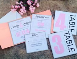 Pink and Grey Modern Invitations